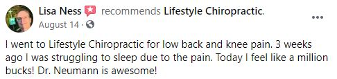 Chiropractic Mendota Heights MN Patient Testimonial at Lifestyle Chiropractic